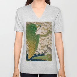 Peacocks and Cherry Tree Unisex V-Neck