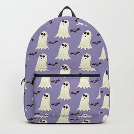 Halloween ghosts   Halloween Bats   Batcave   Purple pillows Backpack
