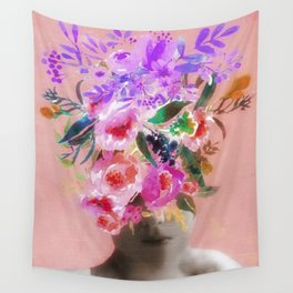 Vintage Flower Girl Wall Tapestry