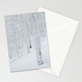 Snow covered forest winter wonderland Stationery Cards