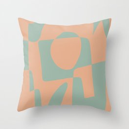 Abstract mosaic pink and mint Throw Pillow