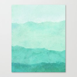 Ombre Waves in Teal Canvas Print