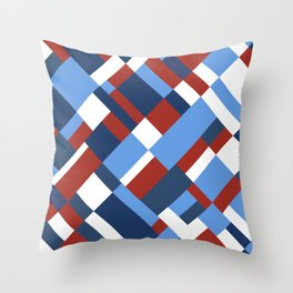 Map 45 Red White and Blue Throw Pillow