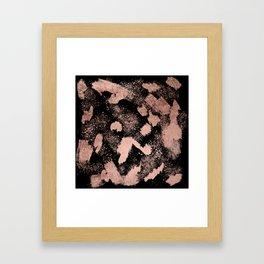 Modern rose gold foil brushstrokes paint abstract splatters black Framed Art Print