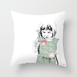 BubbleGirl Throw Pillow