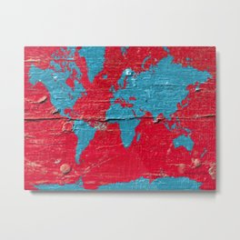 Blue and Red Milk Paint - Organic World Map Series Metal Print