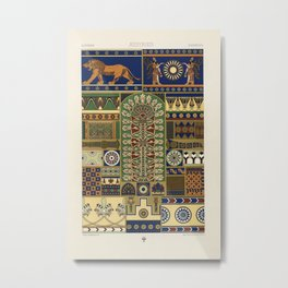 Assyrian pattern from L'ornement Polychrome (1888) by Albert Racinet (1825–1893). Metal Print