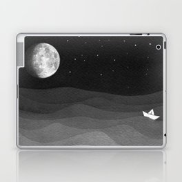 Moon phase, black and white, ocean Laptop & iPad Skin