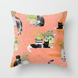 Cats & Plants #society6artprint ##cats #decor Throw Pillow