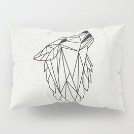 Geometric Howling Wild Wolf Pillow Sham