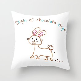The Origin of Chocolate Chips Throw Pillow