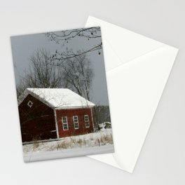 Red Barn in Snow Stationery Cards