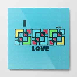 Modern Blue Love Metal Print