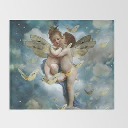 """Angels in love in heaven with butterflies"" Throw Blanket"