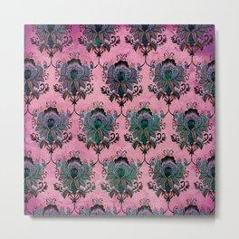 Pink Lotus Damask Metal Print