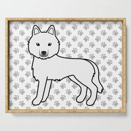 White Siberian Husky Dog Cute Cartoon Illustration Serving Tray