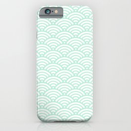 Mint Green Seigaiha Sea Wave Nautical Minimalist iPhone Case