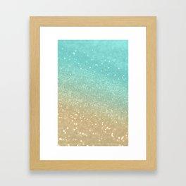 Sparkling Gold Aqua Teal Glitter Glam #1 #shiny #decor #society6 Framed Art Print