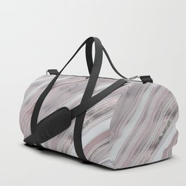 Soft Rose Gold Marble Elegance Duffle Bag