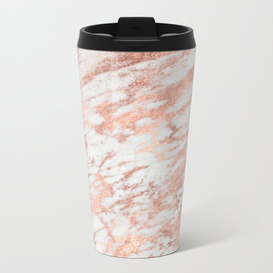 Marble - Pink Rose Gold Marble White Metallic iPhone Case and Throw Pillow Design Metal Travel Mug
