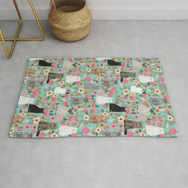 Cats floral mixed breed cat art cute gifts for cat ladies cat lovers pet art Rug