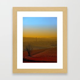 Haze, sunset and city skyline | landscape photography Framed Art Print