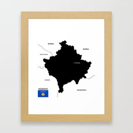 political map of Kosovo country with flag Framed Art Print
