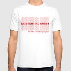 EXISTENTIAL ANGST White Mens Fitted Tee MEDIUM