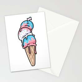 Cute transgender ice cream cone cartoon vector illustration motif set. Stationery Cards
