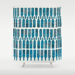 Abstract blue wine bottle pattern Shower Curtain