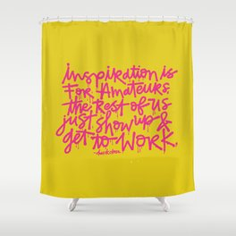 Inspiration is for amateurs x typography Shower Curtain