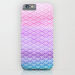 Candy Pop Watercolor Seigaiha Pattern iPhone Case