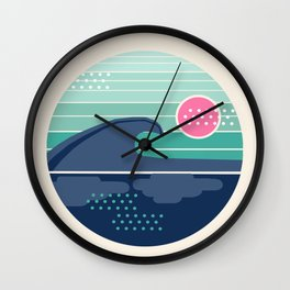 Cya Later - 70's retro ocean wave vintage style throwback 1970s minimal art Wall Clock