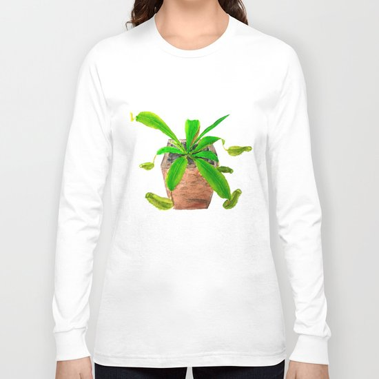 tropical pitcher plant watercolor painting Long Sleeve T-shirt