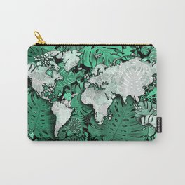 world map tropical leaves 3 Carry-All Pouch