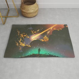 Fantasy Illustration Graphic Design Anime Japanese Inspired World Meteor Passing In Glowing Sky Rug