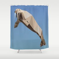 walrus Shower Curtains featuring Geometric Walrus by Werk of Art
