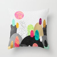 Throw Pillows featuring Little Land of Pebbles by Elisabeth Fredriksson