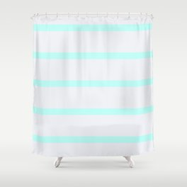 Modern pastel gray teal striped pattern Shower Curtain