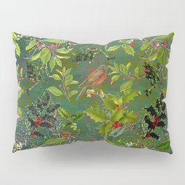 Christmas Pattern with Green Background Pillow Sham