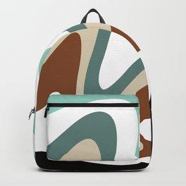 Liquid Mountain Abstract // Mint Green, Evergreen, Khaki Tan, Burnt Sienna, Black and White Backpack