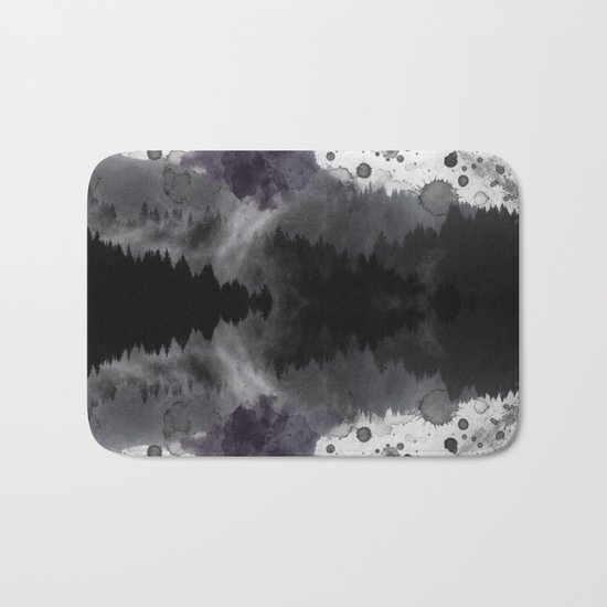 Watercolor forest reflections -abstract Bath Mat