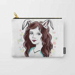 Girl with Rabbit Ears Carry-All Pouch