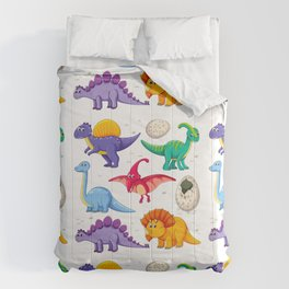 colorful dinosaurs Comforters