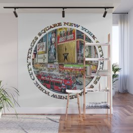 Times Square New York City (badge emblem on white) Wall Mural