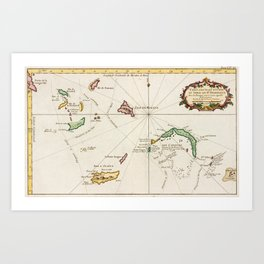 Vintage Turks and Caicos Map (1764) Art Print