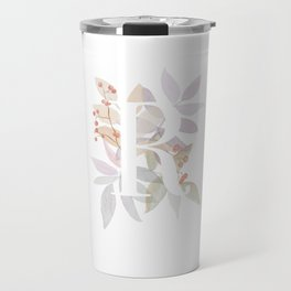 Rustic Initial R - Watercolor Letter Branches and Leaves Monogram Travel Mug