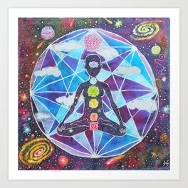 Meditation Chakra Space Tapestry Rainbow Galaxy Psychedelic Painting Art (Intergalactic Beings) Art Print