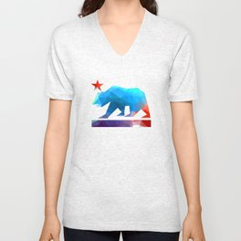 California State Bear (fractal colors) Unisex V-Neck