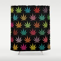 cannabis Shower Curtains featuring Cannabis Leaf Multi-coloured Pattern by Thisisnotme